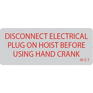 Replacement Label, Disconnect Electrical