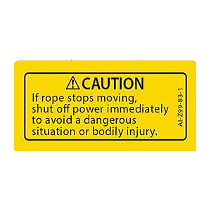 Replacement Label, Caution Rope Jam