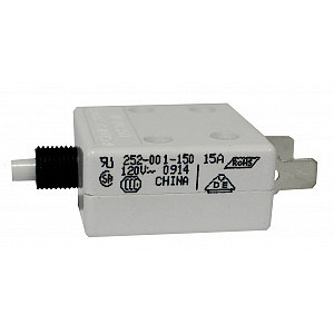 Circuit Breaker, Push-to-Reset UL489, 15 Amp, No Hardware.