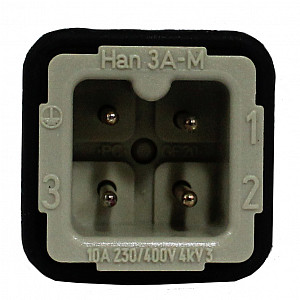 Industrial Connector, 2X2, 4 Pin (3 + Gnd)